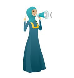 muslim business woman talking into loudspeaker vector image