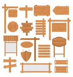 wooden signages set vector image vector image