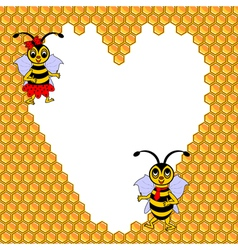 A couple of two funny cartoon bees vector image vector image