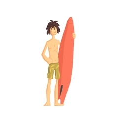 Guy With The Surf Board vector image vector image