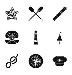 sea icons set simple style vector image