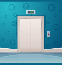 cartoon elevator with red button vector image