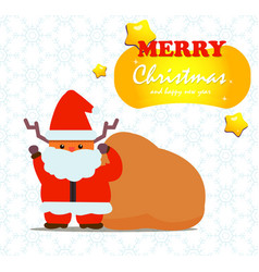 cute deer santa claus with gift bag and snow vector image vector image