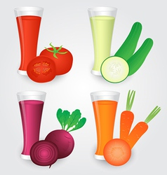 Glasses of Veggies Juice Isolated on Background vector image vector image