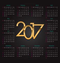Gold 2017 luxury editable Calendar vector image