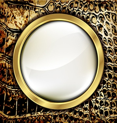Leather background with golden elements vector image