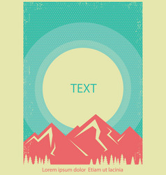 mountains landscape retro poster background for vector image