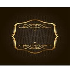 Blank golden vintage frame banner label vector image