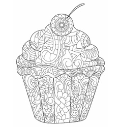 Cake coloring book for adults vector