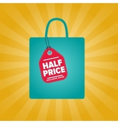 Half price sale sticker on package silhouette vector
