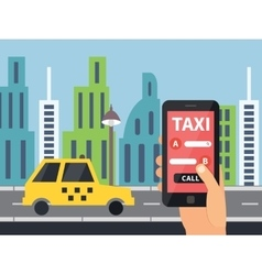 Public taxi online service mobile application vector image