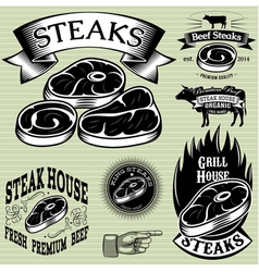 set template for grilling barbecue steak house men vector image vector image
