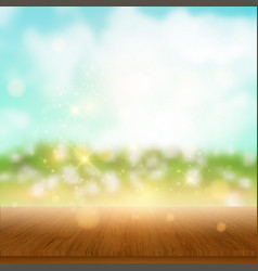 wooden table looking out to summer landscape vector image vector image