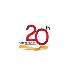 20 anniversary design logotype red color vector