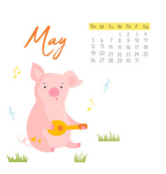 2019 calendar with funny pig monthly page vector