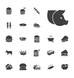 22 meat icons vector