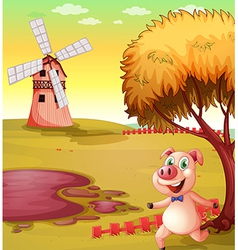 A pig running at the piggery vector image