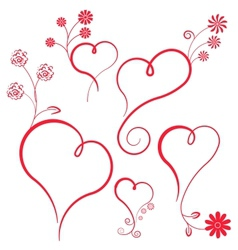 Abstract heart with flowers Element for design vector