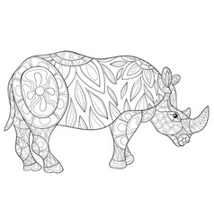 adult coloring bookpage a cute rhino image vector image