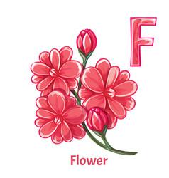 Alphabet letter f flower vector
