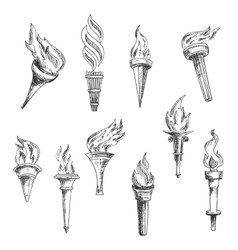 Ancient wooden flaming torches sketches vector