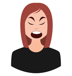 angry girl emoji on white background vector image