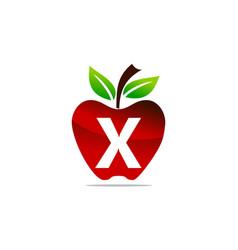Apple letter x logo design template vector