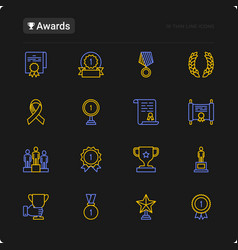 awards thin line icons set vector image