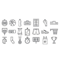 basketball game equipment icons set outline style vector image