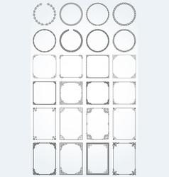 big set decorative rectangle square round vector image