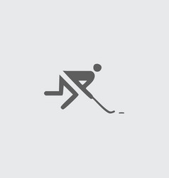 Black flat hockey player icon vector