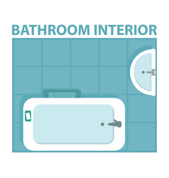 blue bathroom interior icon view from above vector image