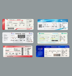 boarding pass and plane ticket mockups vector image