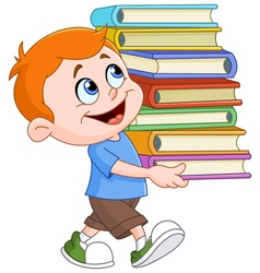 Boy carrying books vector