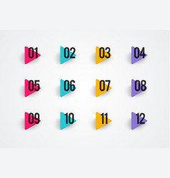 Bullet points set colorful triangle with numbers vector