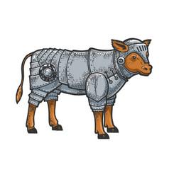 calf bull in knight armor sketch engraving vector image