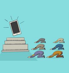cartoon men worshiping a gadget vector image