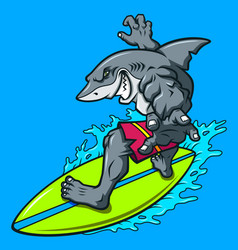 cartoon surfing shark vector image