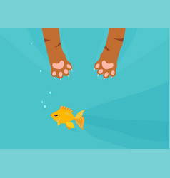 Cat paw catch fishing gold fish under water vector