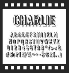 charlie vintage 3d alphabet set vector image