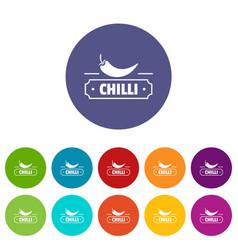 Chilli spice icons set color vector