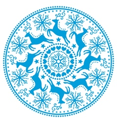Christmas winter round blue pattern vector