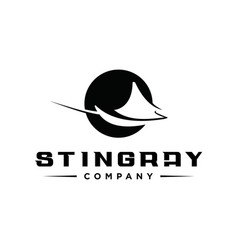 Circle stingray fish logo template vector