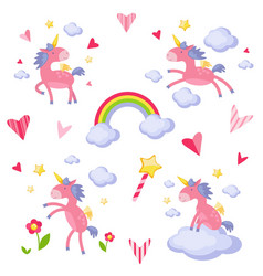 collection of with a pink unicorn vector image