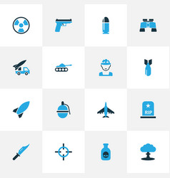 combat colorful icons set collection of grave vector image