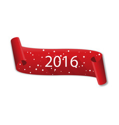curved red banner happy new year 2016 with snow vector image