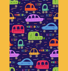 Cute childish pattern with hand drawn cars vector