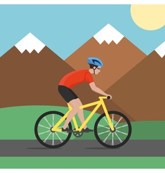 cyclist on bike on background with mountains biker vector image