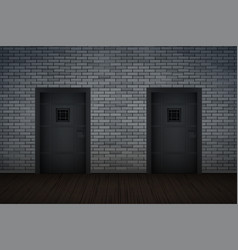 Dark brick wall and prison interior vector