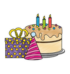 Delicious cake with gifts presents and hat vector